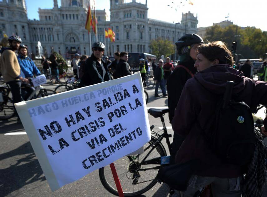 manifestantes en bicicleta