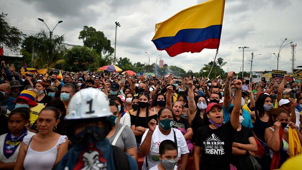 Foto de una marcha en Colombia