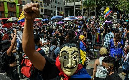Foto de una marcha durante el paro nacional 2021 en Colombia