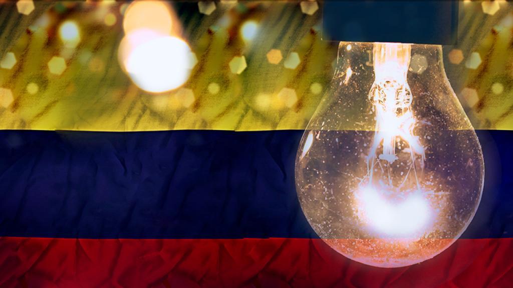 Bandera de Colombia con brillos y bombillo