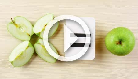 Imagen de manzanas en fracciones