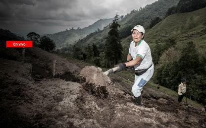 mujer vestida con jean y camiseta blanca está recogiendo tierra con una pala