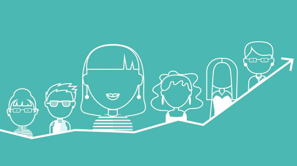 Imagen ilustrada de mujeres, simbolizando su papel en el mundo del emprendimiento.