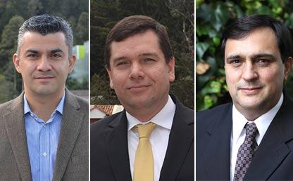 Retrato de tres profesores, nuevos directores de Departamento en la Facultad de Ingeniería.