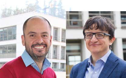 Imagen dividida en dos con el retrato de los profesores Andrés González y Camilo Olaya de la Universidad de los Andes