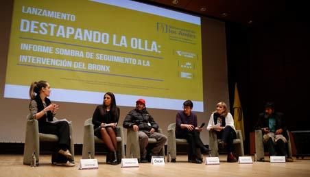 """Panel que participó en la presentación del estudio """"Destapando la olla: Informe sombra sobre la intervención en el Bronx""""."""