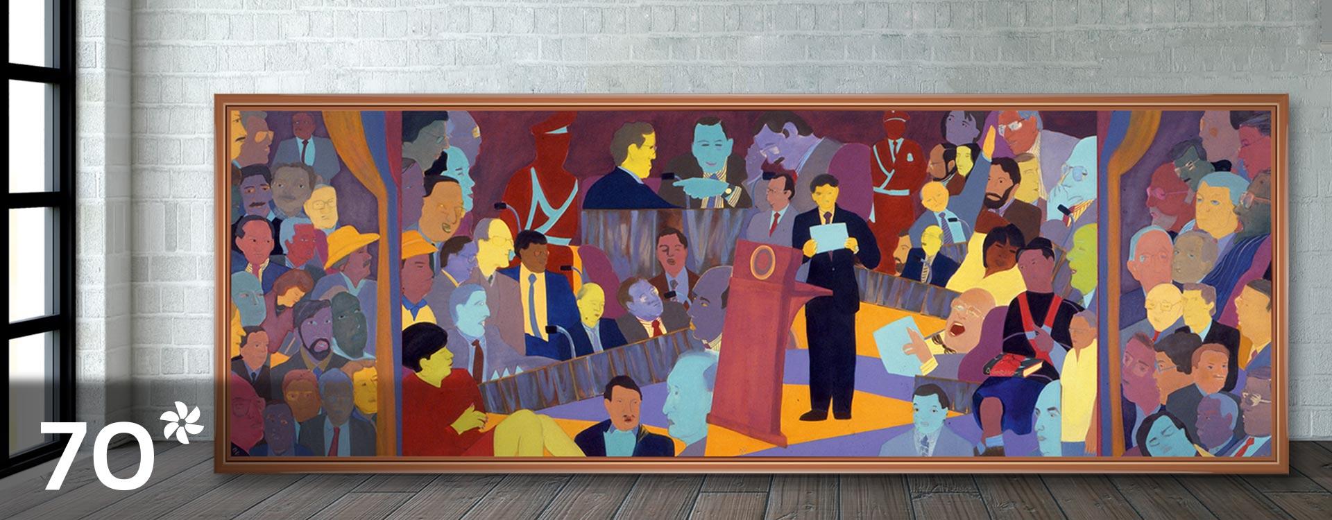 Imagen del cuadro La Constituyente, obra  de Beatríz González.