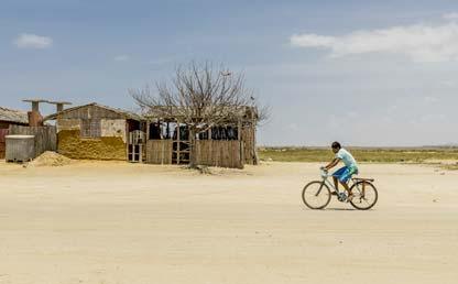 Niño en bicicleta recorre el Cabo de la Vela. De fondo casas precarias de la población.