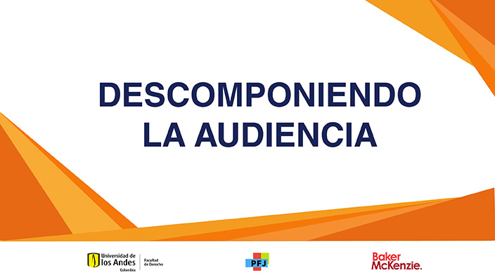 Imagen con logos de Uniandes y título: Descomponiendo la Audiencia