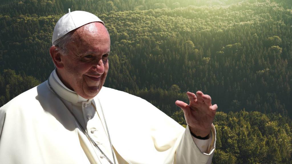 Fotomontaje retrato del Papa Francisco. De fondo naturaleza.
