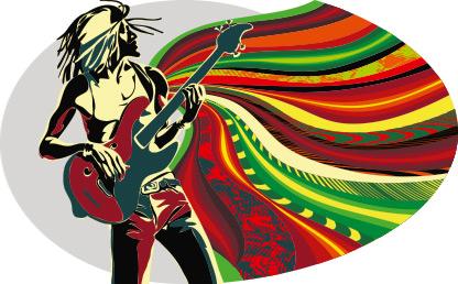Dibujo de un hombre que toca el bajo y de él salen varios colores.