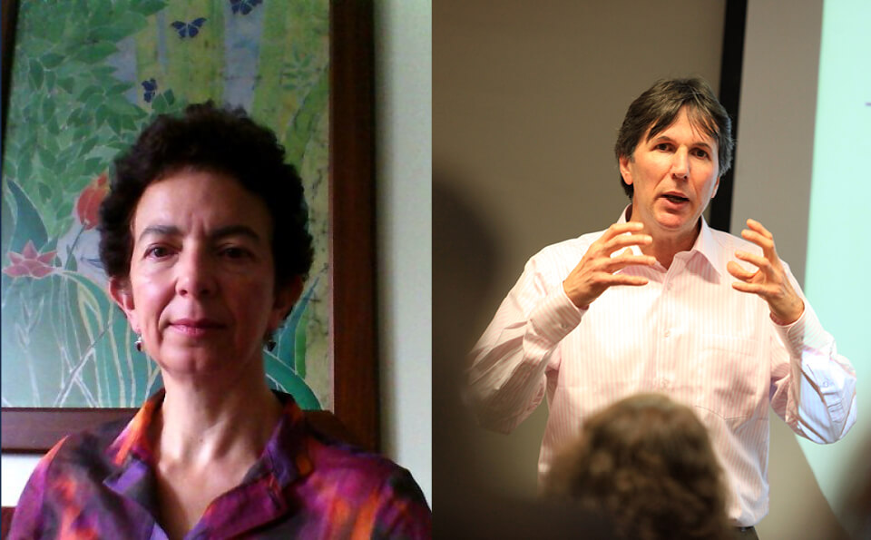 una imagen dividida en dos, en la izquierda vemos a una mujer de cabello corto, y en la derecha a un hombre con camisa en señal de estar explicando algo