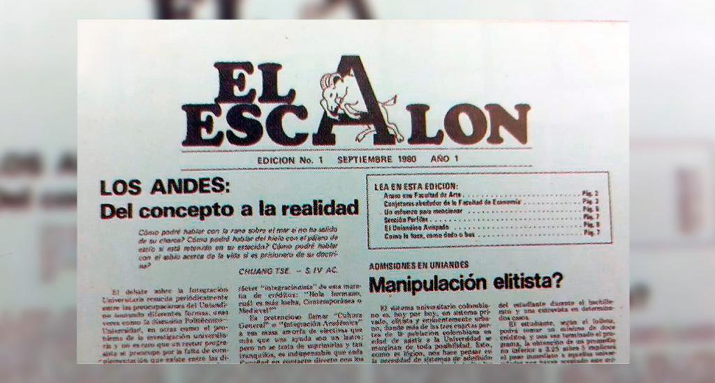 Séneca en el logo del periódico estudiantil El Escalón, de los años 80