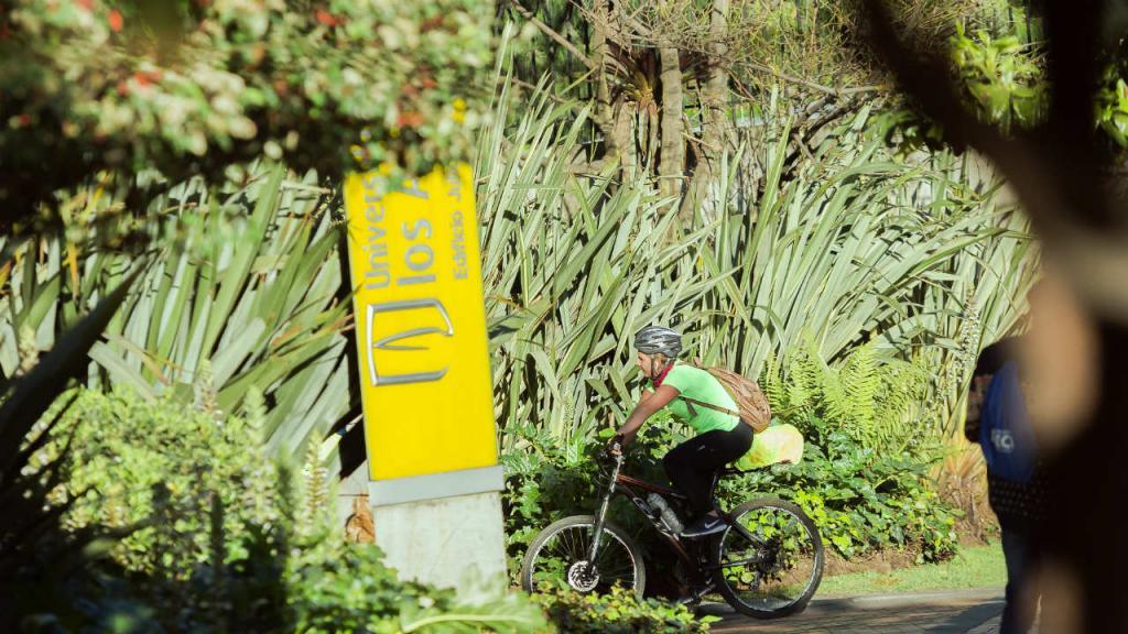 Estudiantes de la Universidad de los Andes ingresa a las instalaciones en bicicleta.