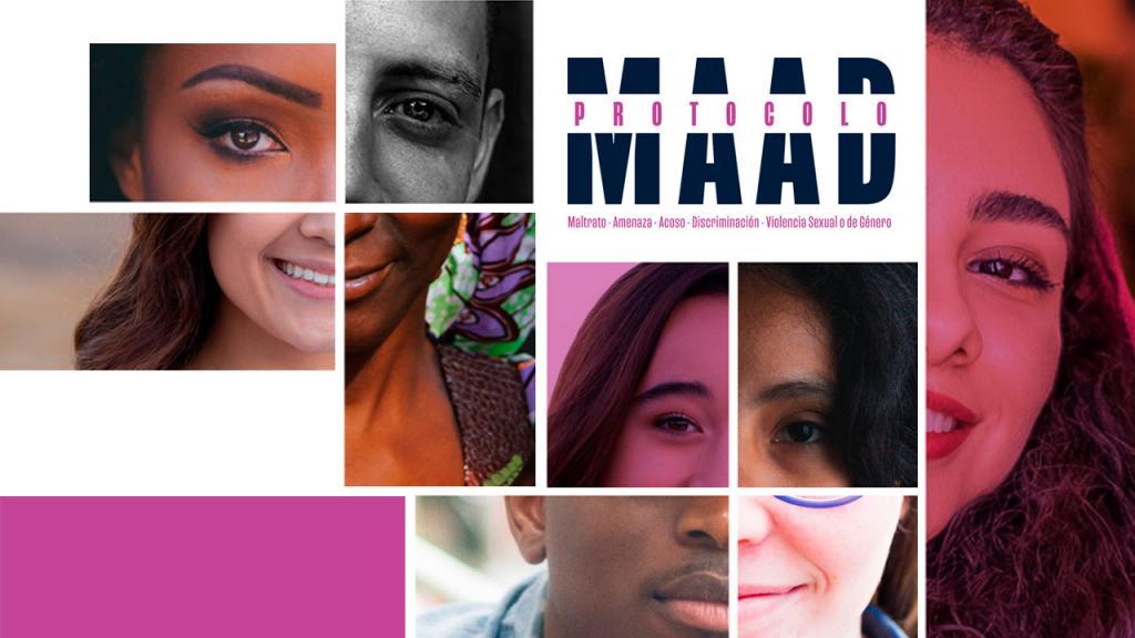 Collage con fragmentos de caras de gente diversa y diseño tipográfico que dice