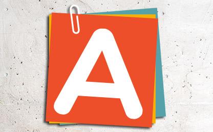 Letra A sobre nota adhesiva