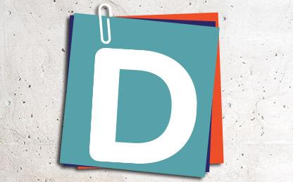 Letra D sobre nota adhesiva