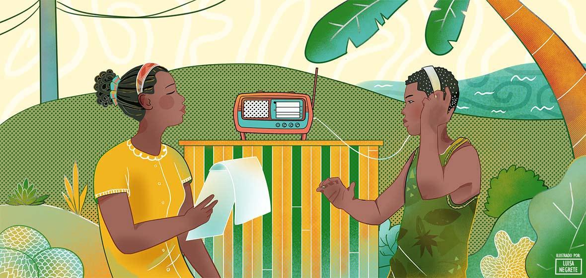 Ilustración de comunidad escuchando radionovela