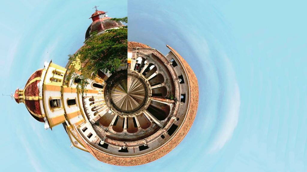 Foto 360 grados de una iglesia de Mompox