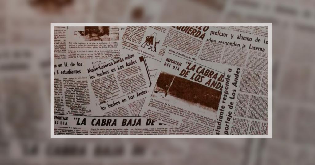 Referencias a Séneca (la cabra) en recortes de periódico antiguos que hablan de la Universidad de los Andes