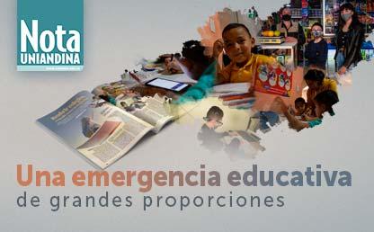 Collage de niñas y niños estudiando desde la casa, en medio de la pandemia.