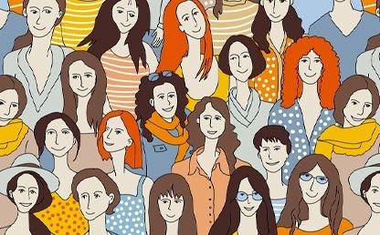 Ilustración de los rostros de muchas mujeres.