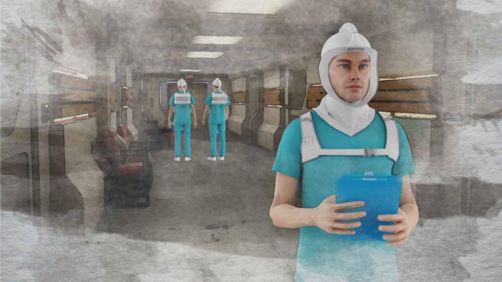 Ilustración de médicos usando un respirador médico Eduardo Behrentz