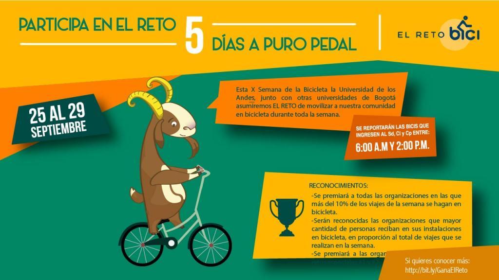 Graficación de una cabra, mascota de Los Andes, montada en bicicleta con la programción de la jornada del dia de la bicicleta.