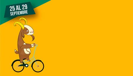 Graficacíon de una cabra, mascota de Los Andes, montada en bicicleta con la programción de la jornada del dia de la bicicleta.