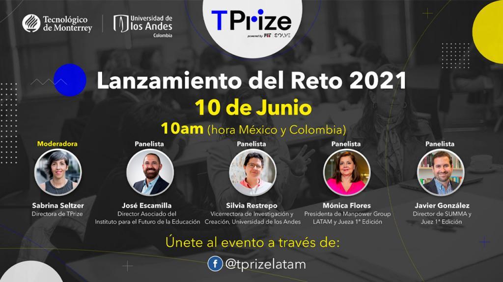 Imagen premio TPrize 2021 logos universidad de los Andes MIT y TEC de Monterrey