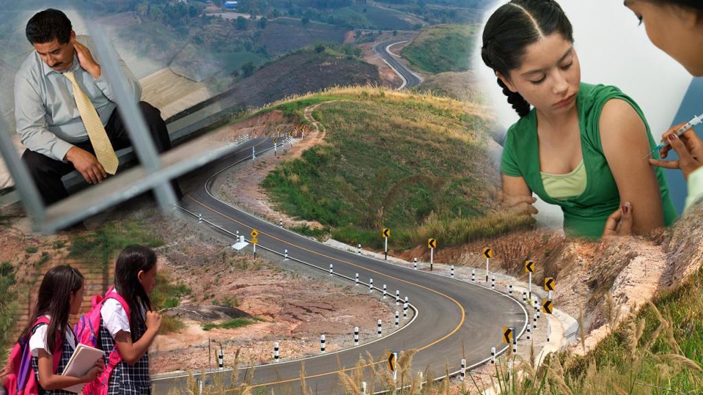 Collage de imágenes sobre salud, infraestructura, educación y justicia