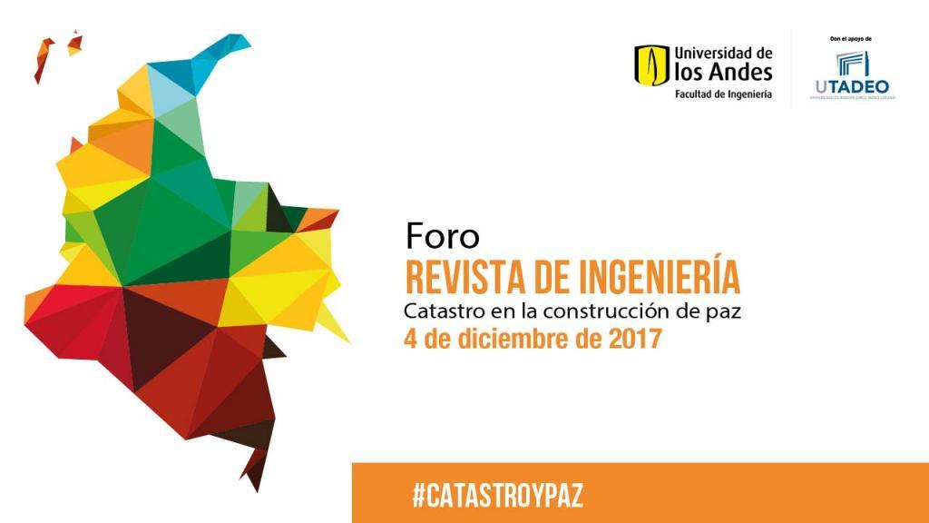 Mapa de Colombia con invitación al Foro: Catastro en la construcción de paz
