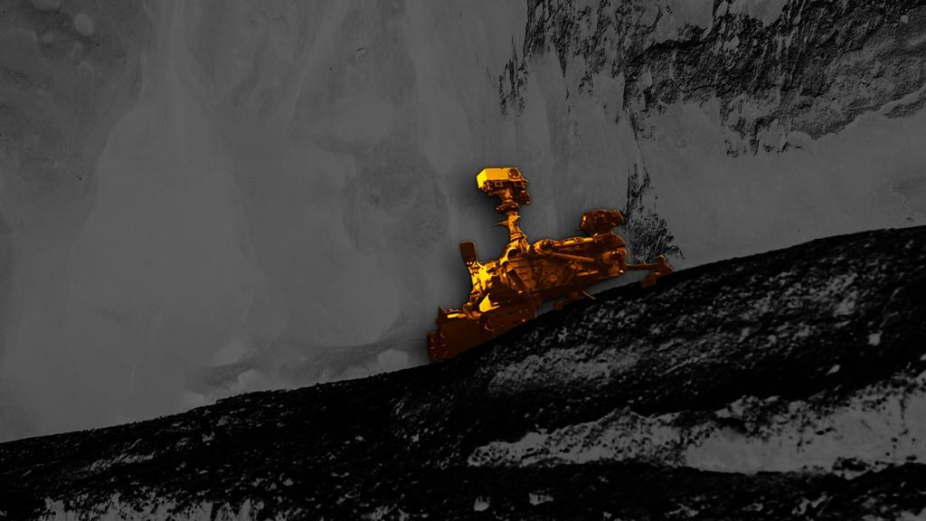 Robot sobre una superficie marciana