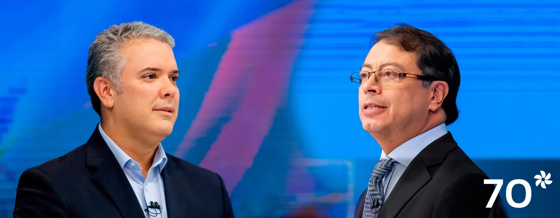 Imagen de los candidatos presidenciales Iván Duque y Gustavo Petro