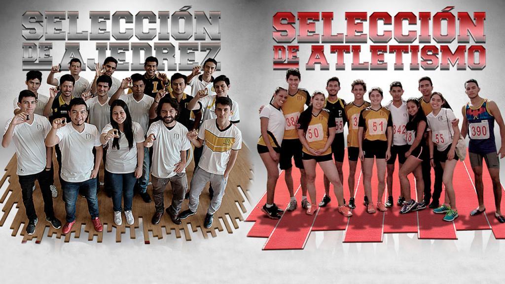 Dos fotos de jóvenes de pie con prendas deportivas de los equipos de la Universidad de los Andes