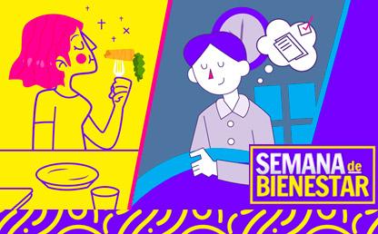 Dos ilustraciones: aparecen dos mujeres una alimentándose sanamente y otra reflexionando sobre cómo dormir bien.