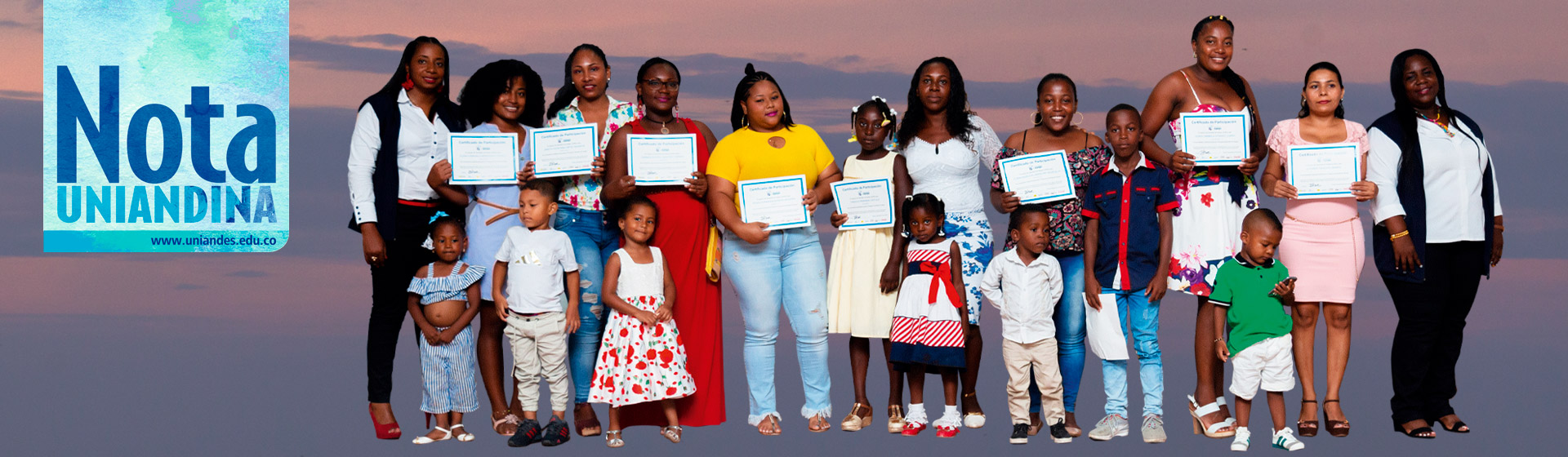 Group of women and their children in a graduation ceremony