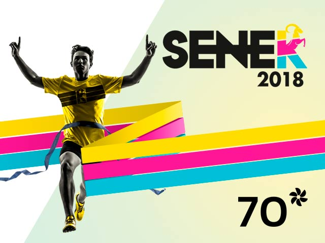 Imagen de un atleta con la camiseta de la carrera Senek.