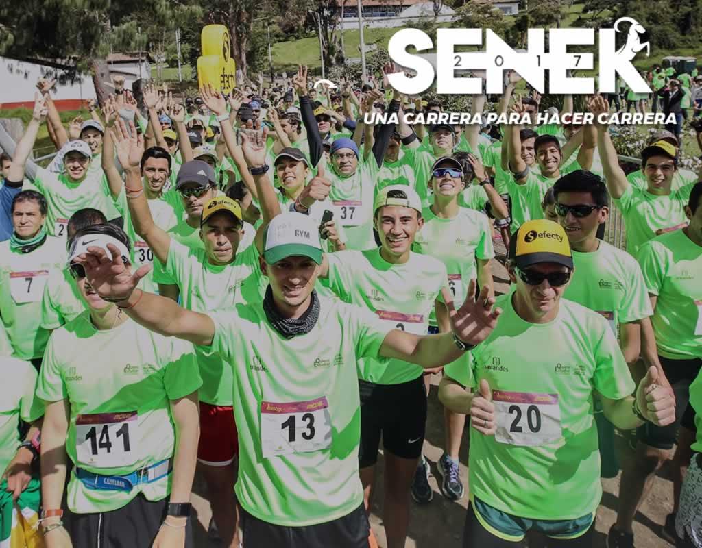 Imagen promocional carrera Senek 2017 en la que aparecen varios corredores en el punto de partida