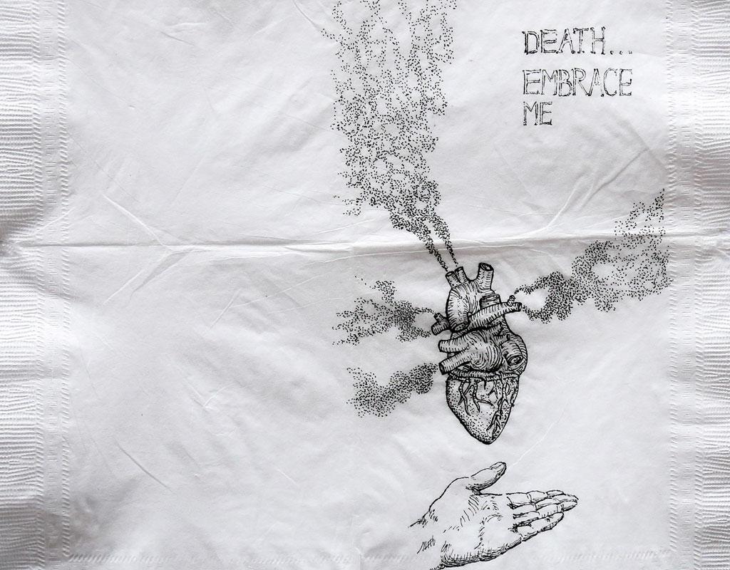 Dibujo, en servilleta, de un corazón humano.