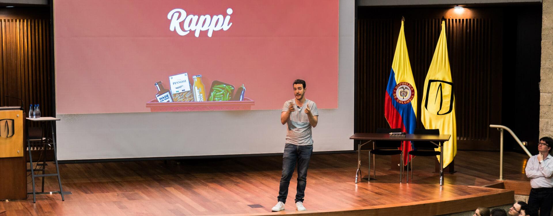 Conferencia de Simón Borrero, Ceo de Rappi, en el auditorio ML de la Universidad de los Andes, en el Día del emprendimiento Uniandino.