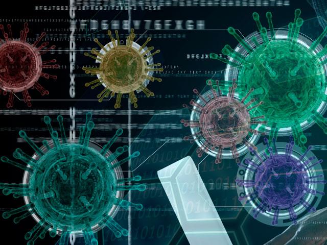 Ilustración con imágenes de virus