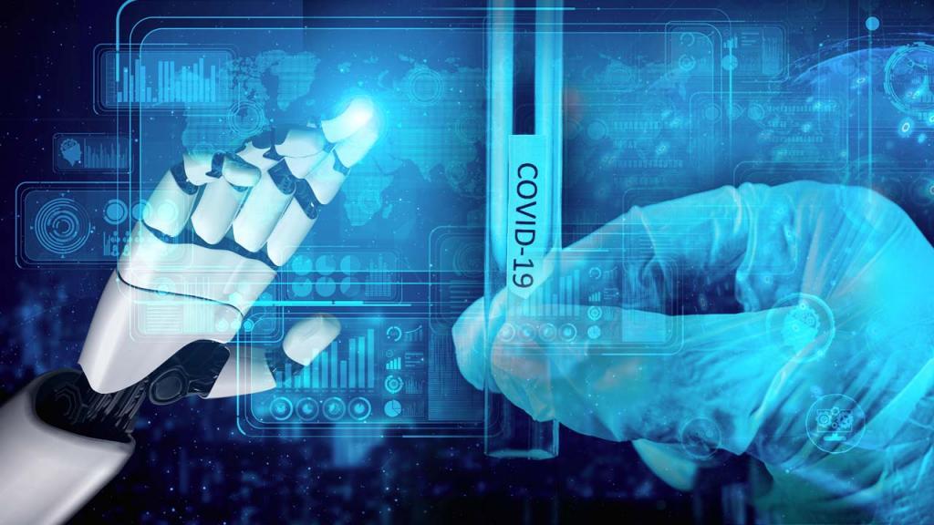Mano de robot y tubo de pruebas covid