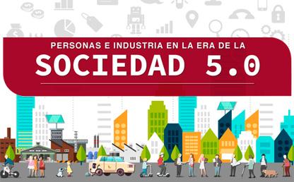 Ilustración edificios y ciudadanos con el título: 'Personas e industria en la era de la Sociedad 5.0'
