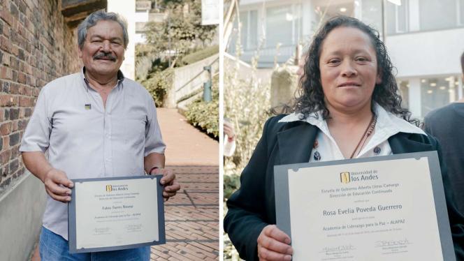 Lídere y lideresa sociales con diploma de grado