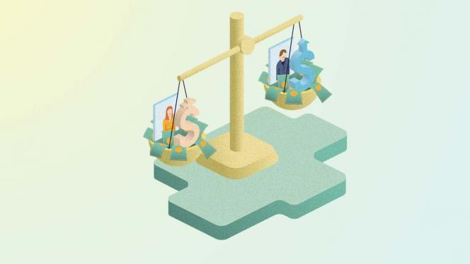 Ilustración de una balanza con dinero