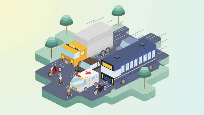 Ilustración de un camión y una ambulancia que anda sobre una vía.