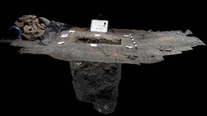 Fotografía 3D desde la parte superior de la excavación