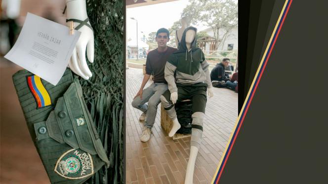 Imagen de uniformes de policías convertidos en piezas de diseño sostenible