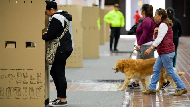Mujer en la urna de votaciones